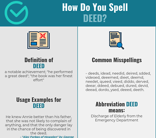 Correct spelling for deed