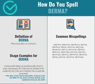 Correct spelling for derma