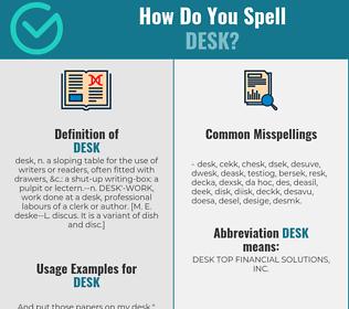 Correct spelling for desk