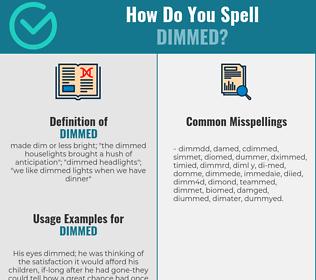 Correct spelling for dimmed