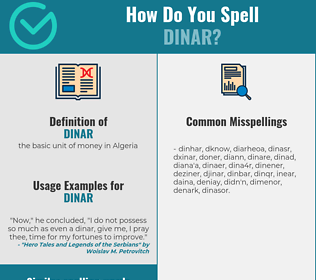 Correct spelling for dinar