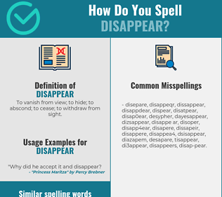 Correct spelling for disappear