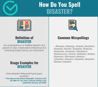 Correct spelling for disaster