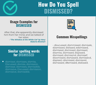 Correct spelling for dismissed