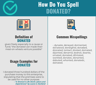Correct spelling for donated
