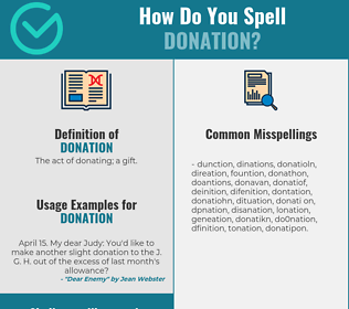 Correct spelling for donation
