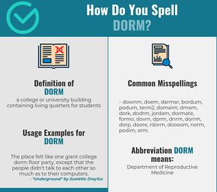 Correct spelling for dorm