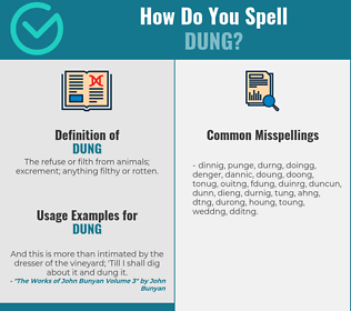 Correct spelling for dung