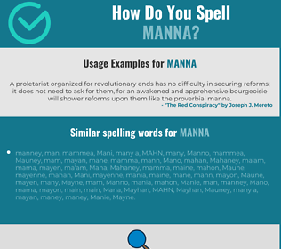 Correct spelling for manna