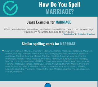 Correct spelling for marriage