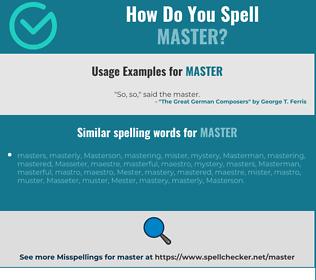 Correct spelling for master