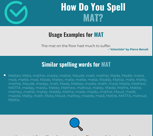 Correct spelling for mat