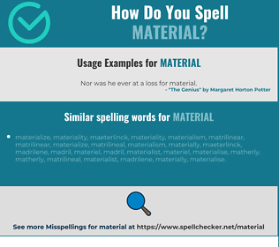 Correct spelling for material