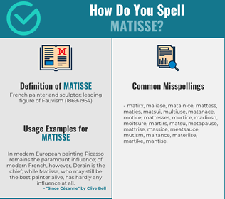 Correct spelling for matisse