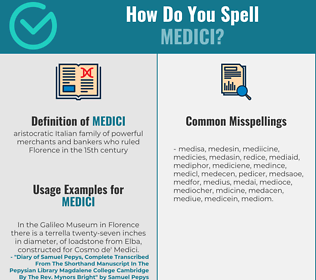 Correct spelling for medici
