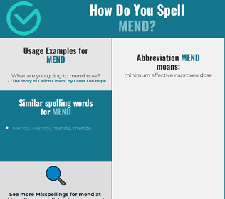 Correct spelling for mend