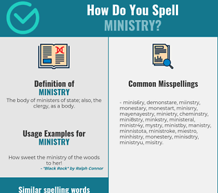 Correct spelling for ministry