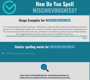 Correct spelling for mischievousness