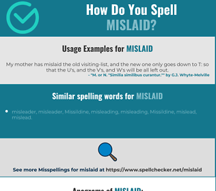 Correct spelling for mislaid