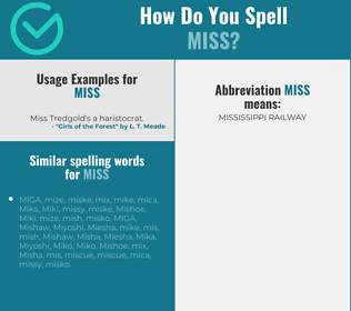 Correct spelling for miss