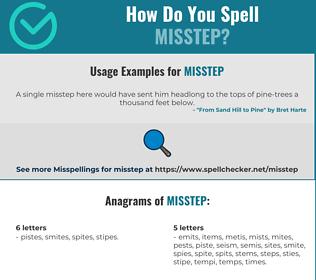 Correct spelling for misstep