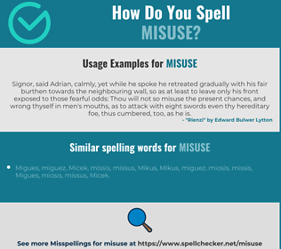 Correct spelling for misuse