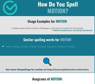 Correct spelling for motion