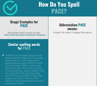 Correct spelling for pace