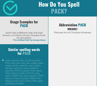 Correct spelling for pack