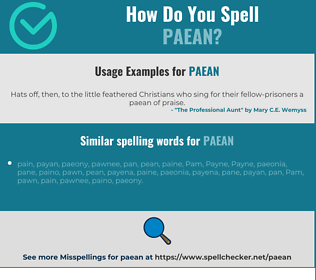 Correct spelling for paean