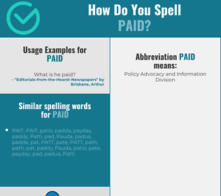 Correct spelling for paid