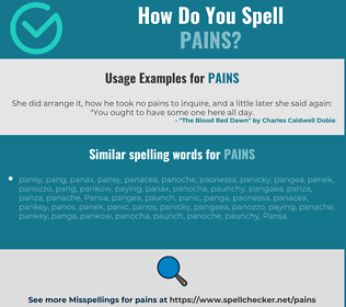 Correct spelling for pains