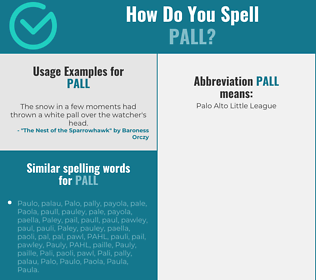 Correct spelling for pall