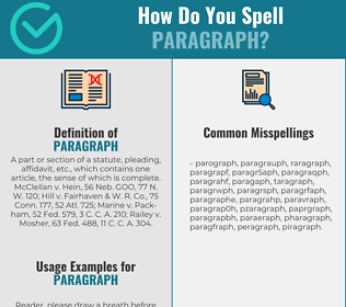 Correct spelling for paragraph