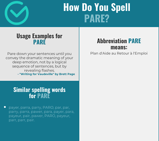 Correct spelling for pare