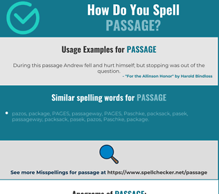 Correct spelling for passage