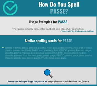 Correct spelling for passe