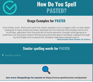 Correct spelling for pasted