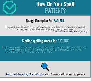 Correct spelling for patient