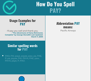 Correct spelling for pay