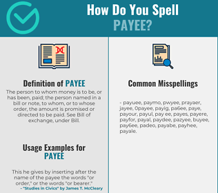 Correct spelling for payee
