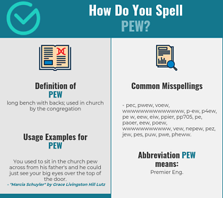 Correct spelling for pew