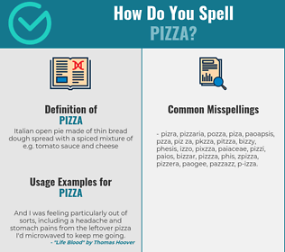 Correct spelling for pizza