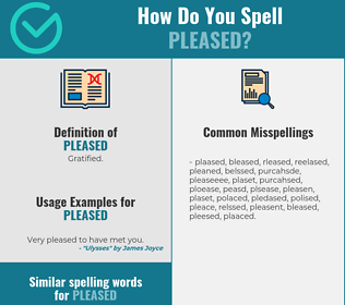 Correct spelling for pleased