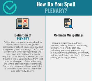 Correct spelling for plenary