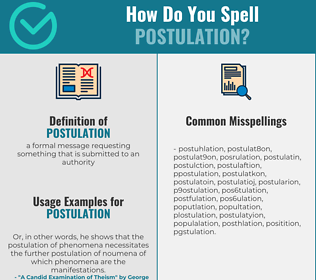 Correct spelling for postulation