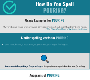 Correct spelling for pouring