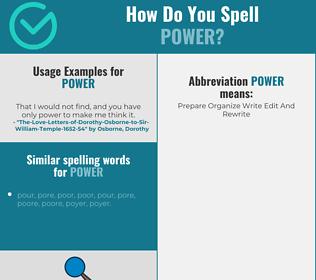 Correct spelling for power