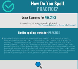 Correct spelling for practice