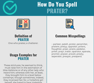 Correct spelling for prater